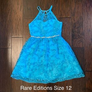Rare Editions Gorgeous Girls Blue Dress (Size 12)
